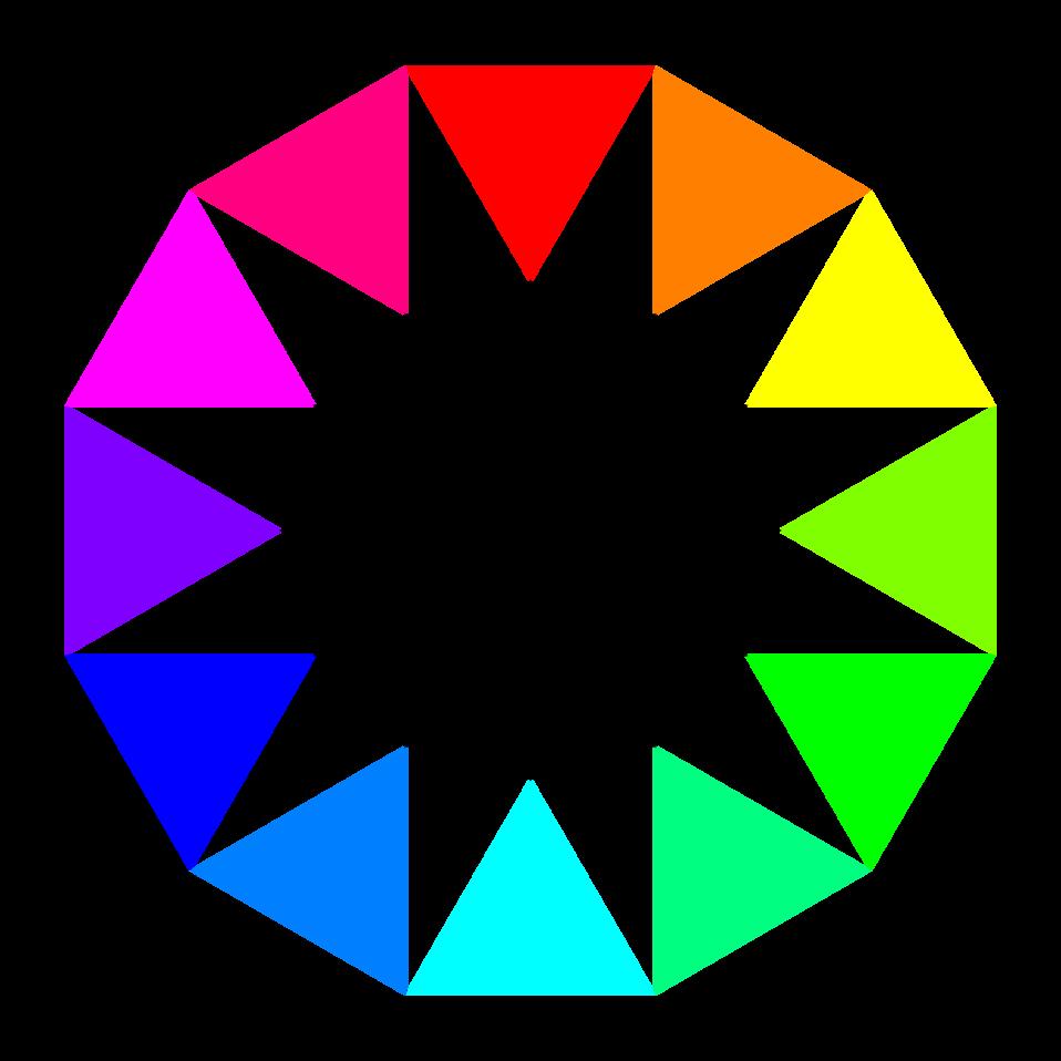 rainbow dodecagon and black dodecagram