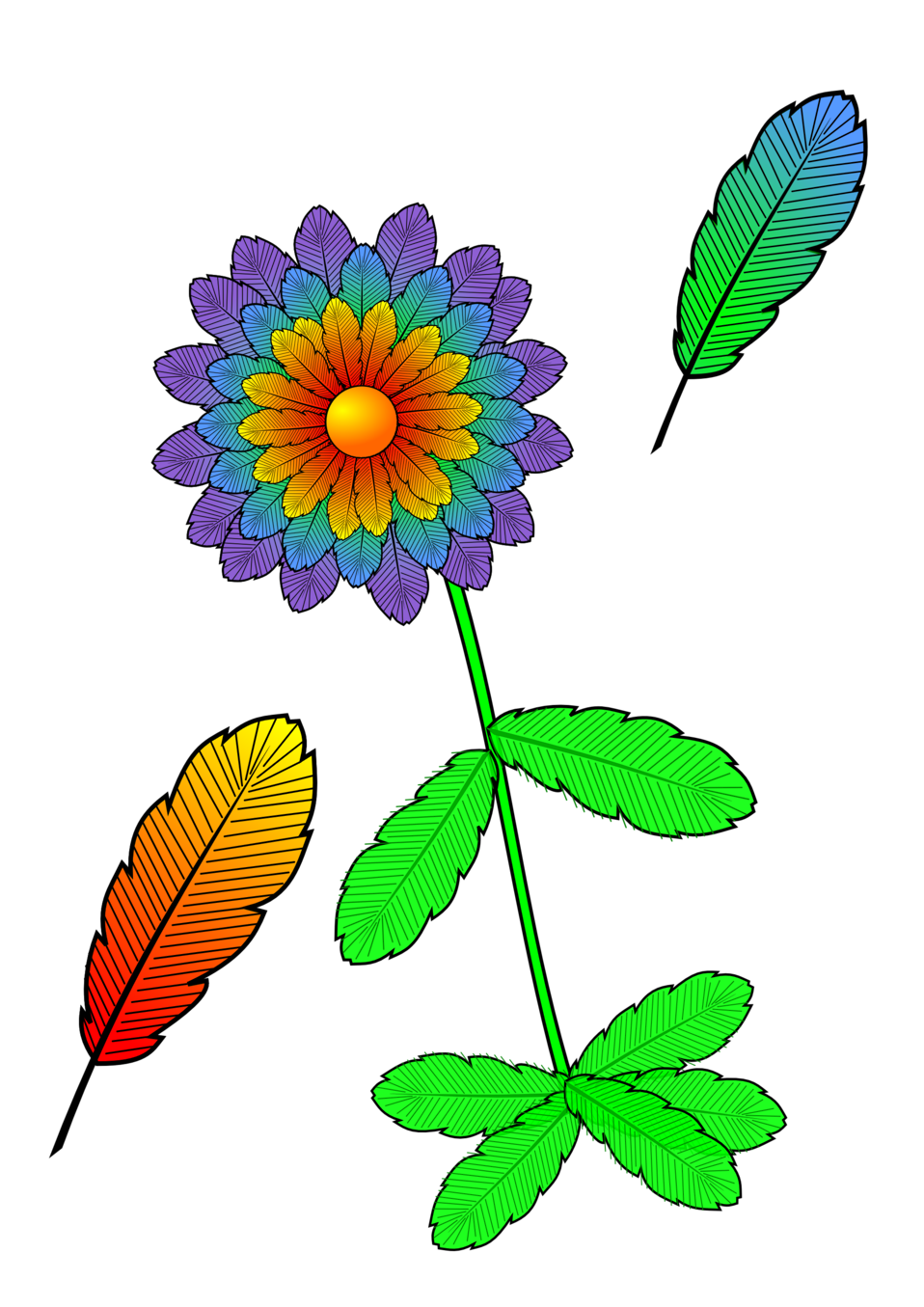 flower and feather