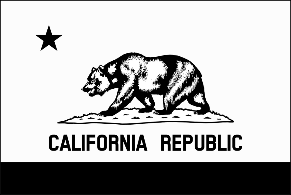 Flag of California (thin border, monochrome)