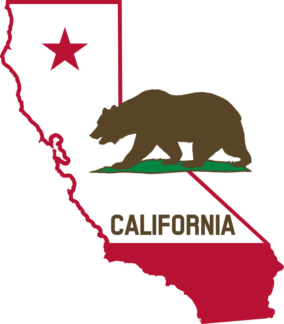 California - Outline and Flag (Solid)