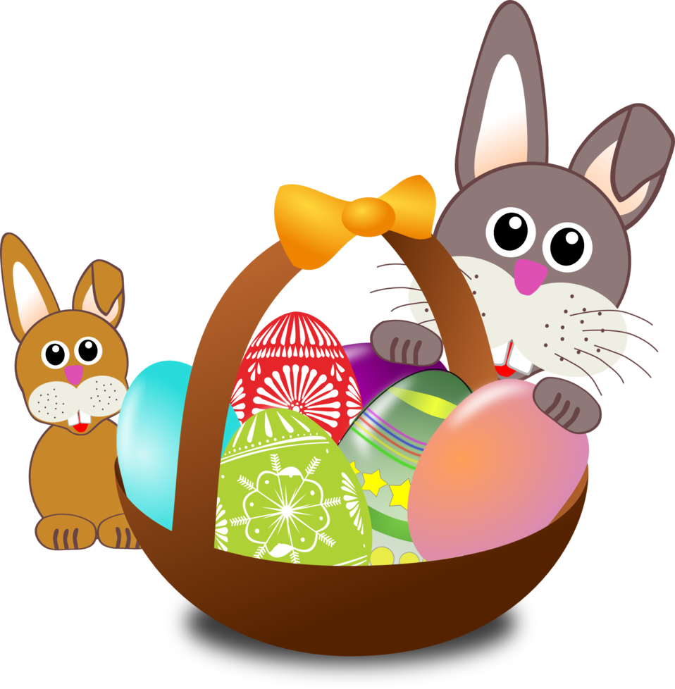 Funny bunny face with Easter eggs in a basket with baby rabbit