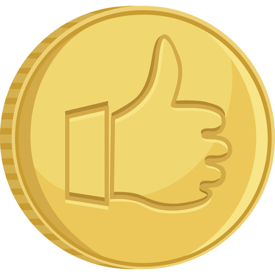 Coin thumbs up