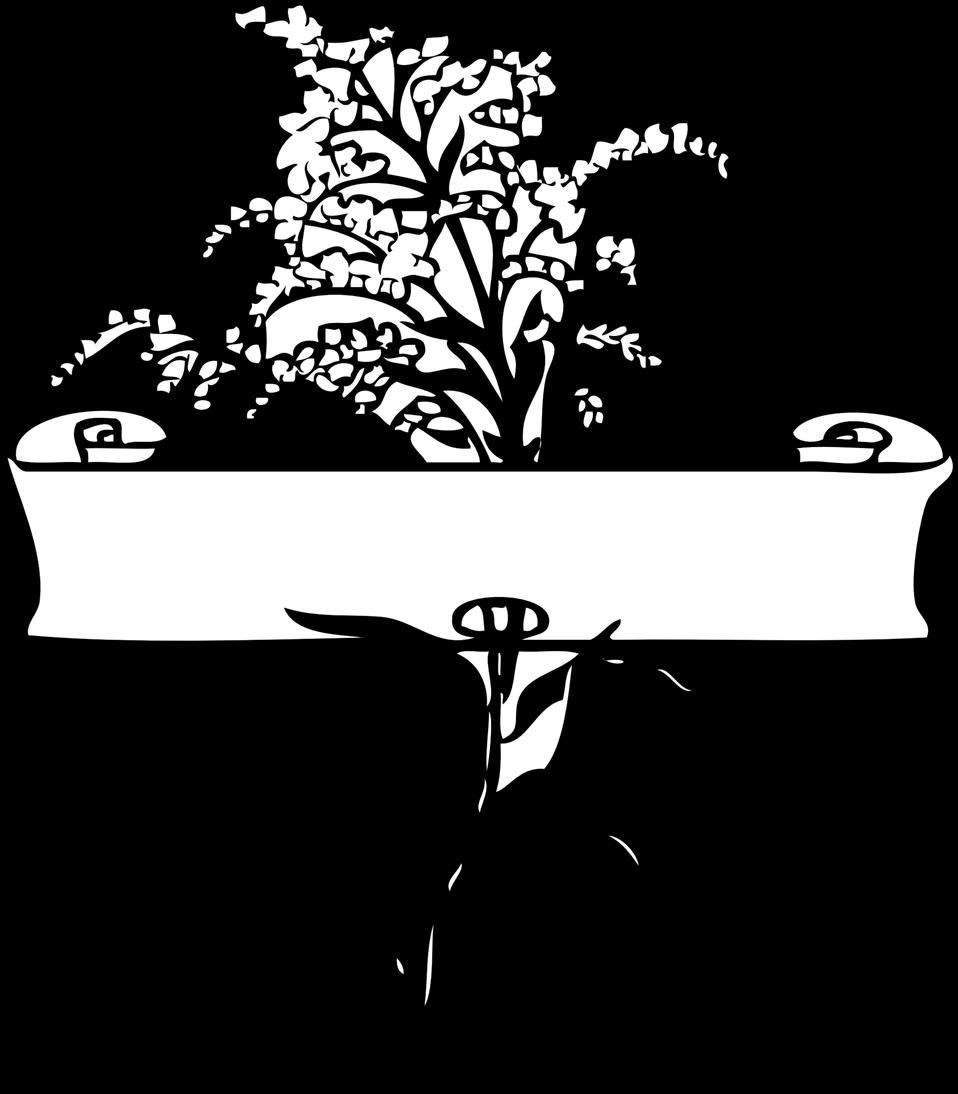 scroll with flower spray