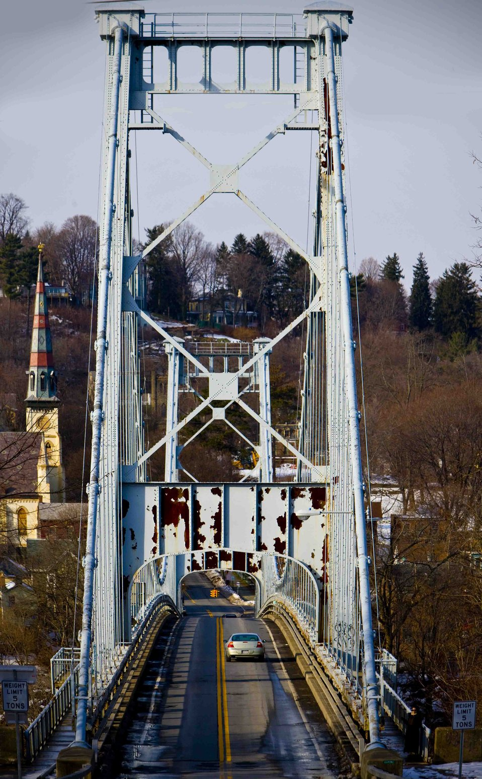 a photograph of the Wurts street Bridge from the Rondout in Kingston NY to Port Ewen NY Over the Rondout Creek, viewed from the Port Ewen approach. Completed in 1921 The bridge is limited to 5 tons and is expected to be renovated in 2009 by the state depa