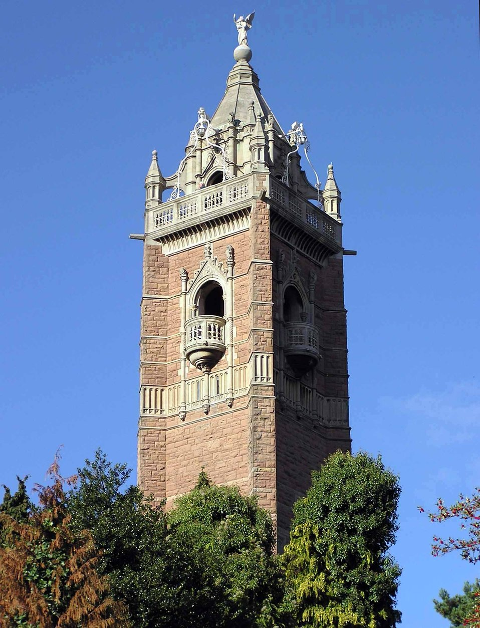 The Cabot Tower, Bristol, England.  The 105 foot high (32 metre) Cabot Tower on Brandon Hill is in the city centre of Bristol, England. The tower was opened in 1898 to commemorate the 400th anniversary of explorer John Cabot's voyage to America in 1497