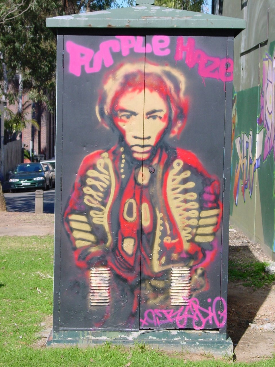 Jimi Hendrix 'Purple Haze' graffiti, Camperdown Memorial Rest Park; May 2005 (Photo: Duncan Kimball)