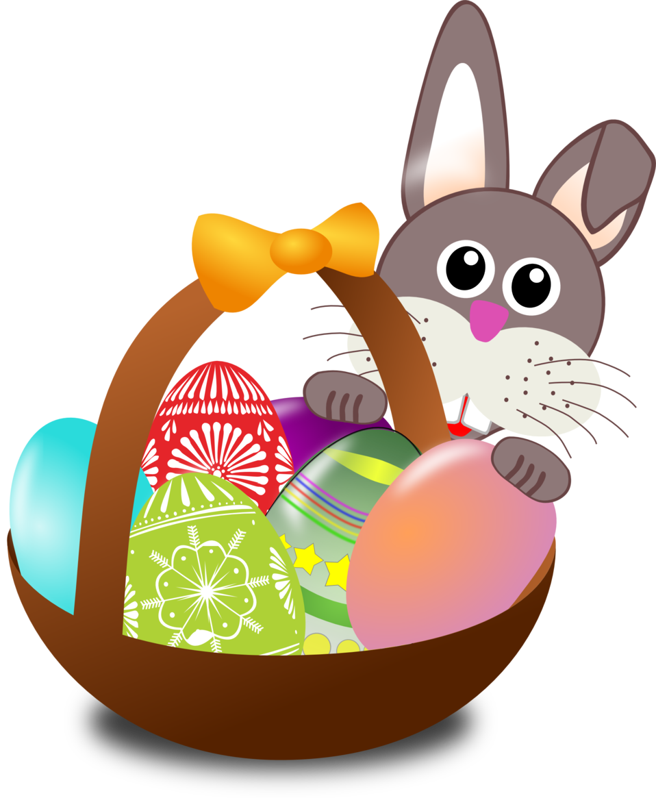 Funny bunny face with Easter eggs in a basket