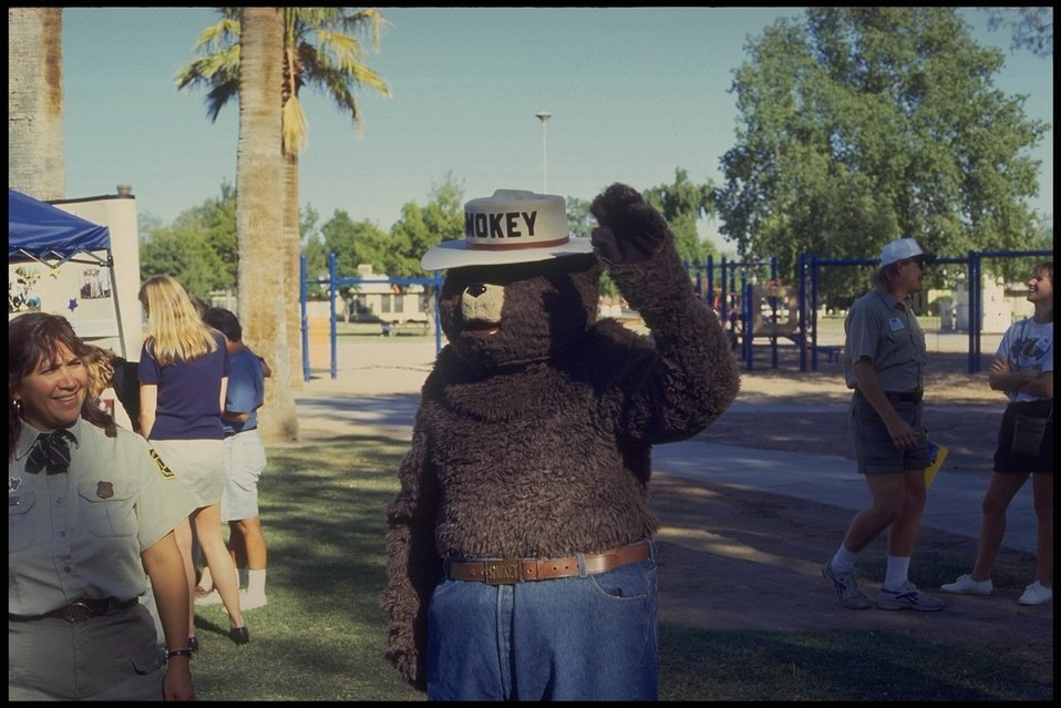 Smokey the Bear pays a visit to WOW (Wonderful Outdoor World), a program that brings traditional outdoor activities to urban youth.