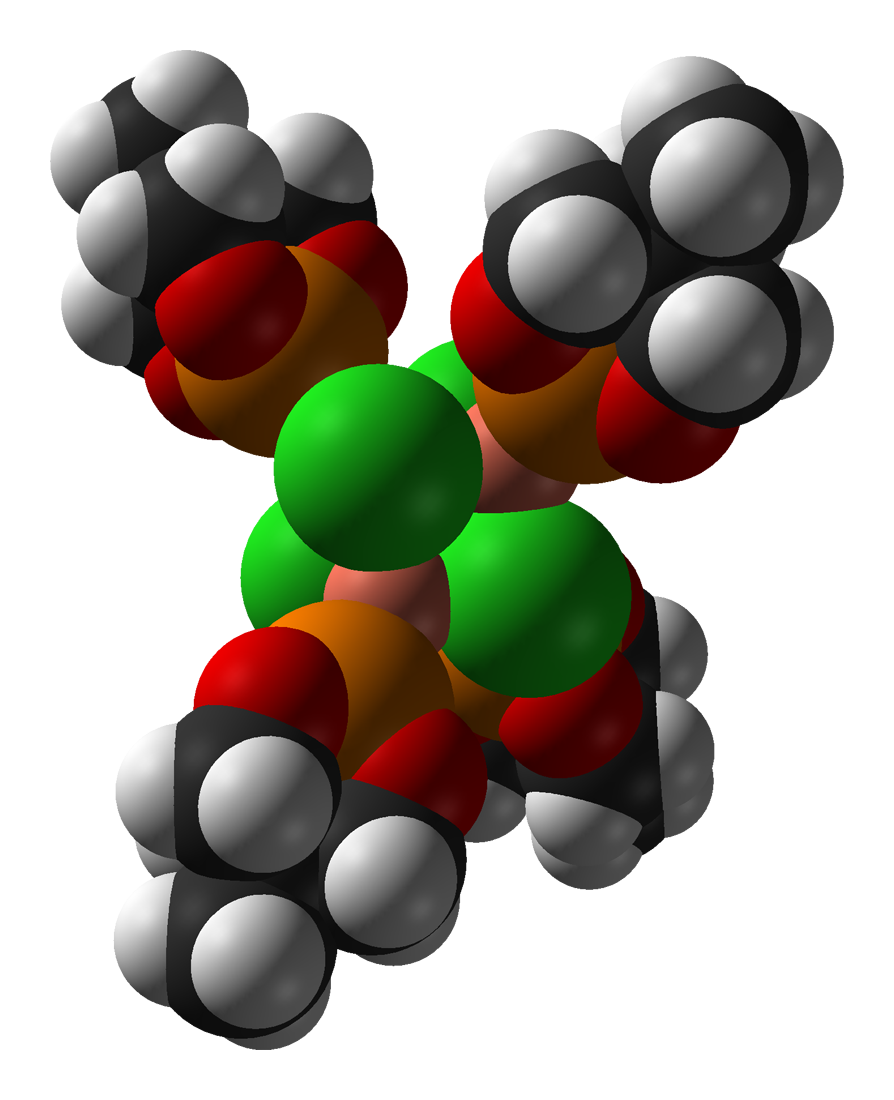 Space-filling model of the caged phosphite complex [CuCl(MeCage)]4 as found in the crystal structure. Colour code:  Carbon, C: black Hydrogen, H: white Phosphorus, P: orange Oxygen, O: red Copper, Cu: orange-pink Chlorine, Cl: green  Crystal structure by