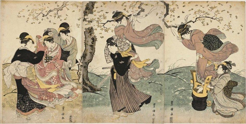 'Flowers in the Wind' by Utagawa Toyokuni I, c. 1795-1825, woodblock triptych, Honolulu Museum of Art.jpg