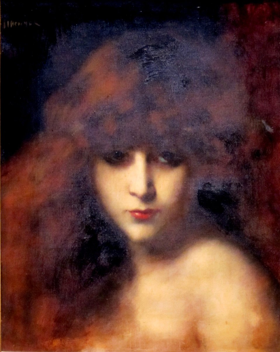 Head of a Woman, oil on canvas painting by Jean Jacques Henner, c. 1900, Dayton Art Institute