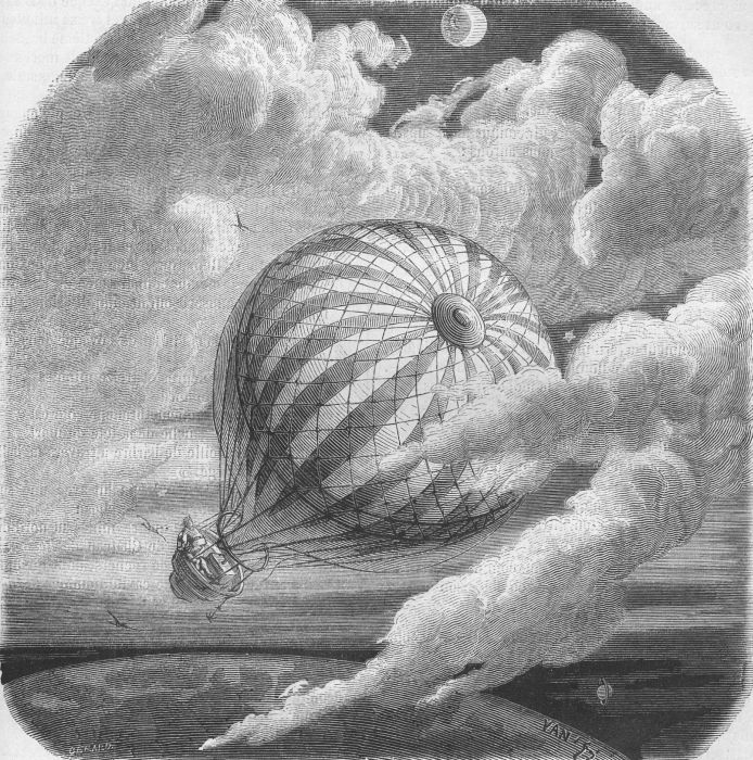 An illustration from Jules Verne's essay 'Edgard Poë et ses oeuvres' (Edgar Poe and his Works,1862) drawn by Frederic Lix or Yan' Dargent. Polski:  Ilustracja artykułu Juliusza Verne'a 'Edgard Poë et ses oeuvres' (Edgar Poe i jego dzieła, 1862)