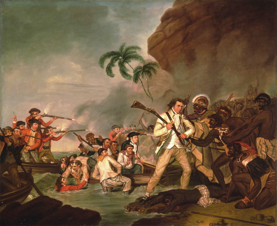 Death of Captain James Cook, oil on canvas by George Carter, 1783, Bernice P. Bishop Museum