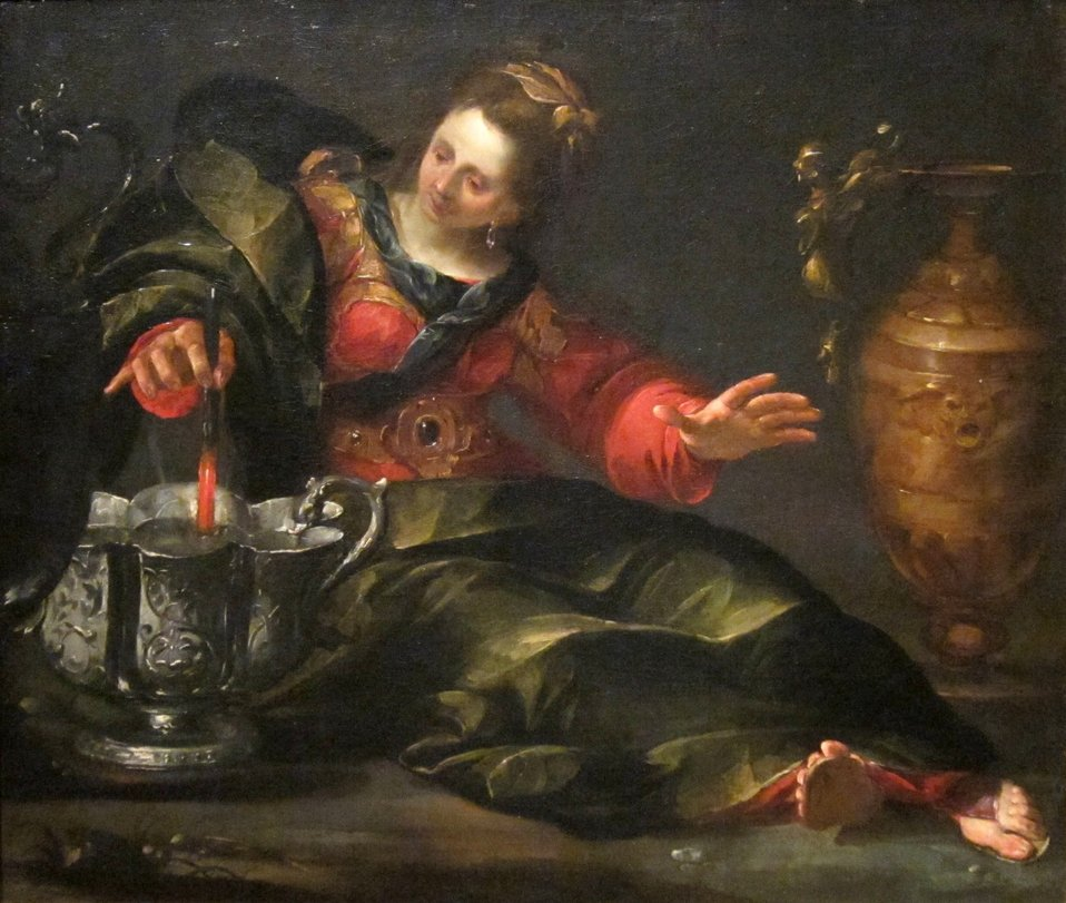 Circe Mulling Wine, oil on canvas painting by Gioacchino Assereto, c. 1630, Dayton Art Institute