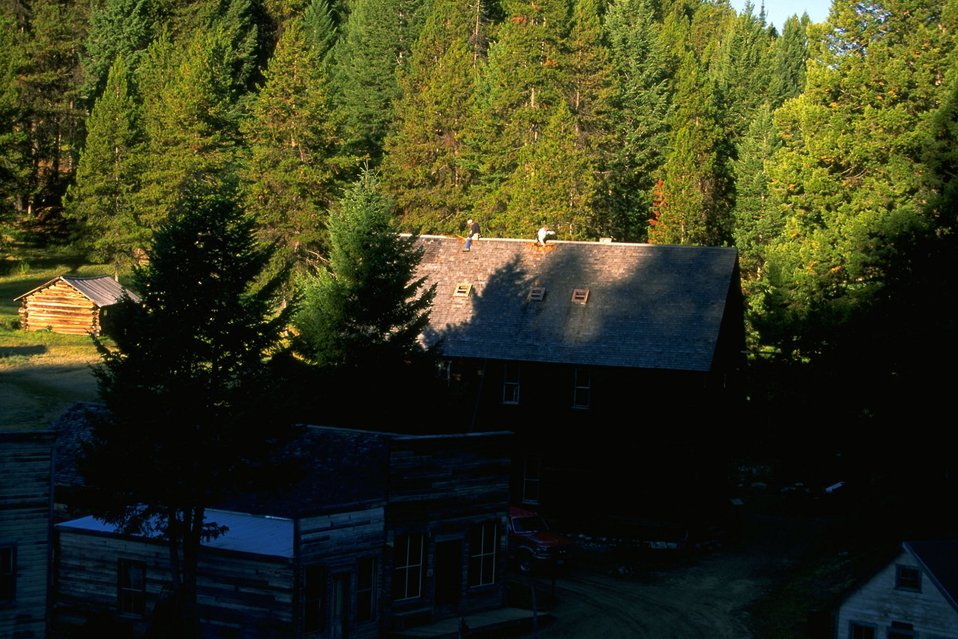 Garnet Ghost Town--stabilizing historic structure