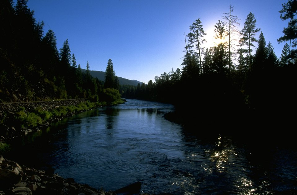 Scenic shot of Blackfoot River with sunset approaching