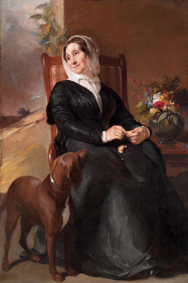 Portrait of Sarah Sully and Her Dog, Ponto, oil on canvas painting by Thomas Sully, 1848, San Antonio Museum of Art