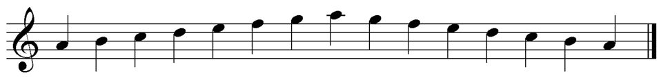 Musical scale in A minor (natural) Image file created with Sibelius software by Opus33. This music is in the public domain. The image is not copyrighted, and it is hereby released by Opus33 into the public domain.  The following is the official Wikipedia