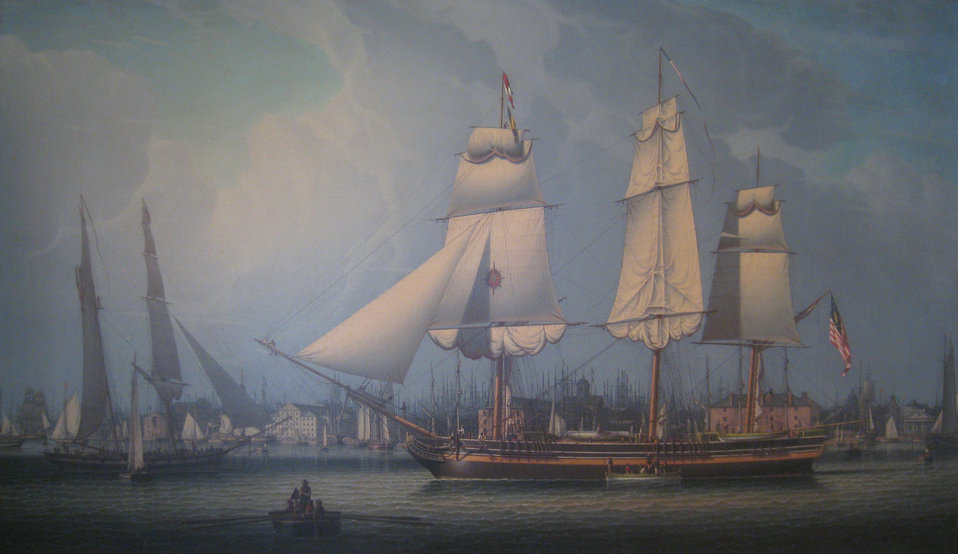 'Wharves of Boston' by Robert Salmon, 1829 - Old State House Museum, Boston, Massachusetts, USA.