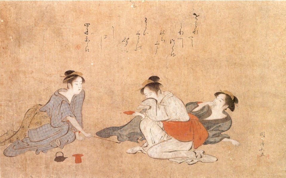 Three Drunken Women, painting by Torii Kiyonaga,, c. 1787, ink and color on paper, Honolulu Museum of Art