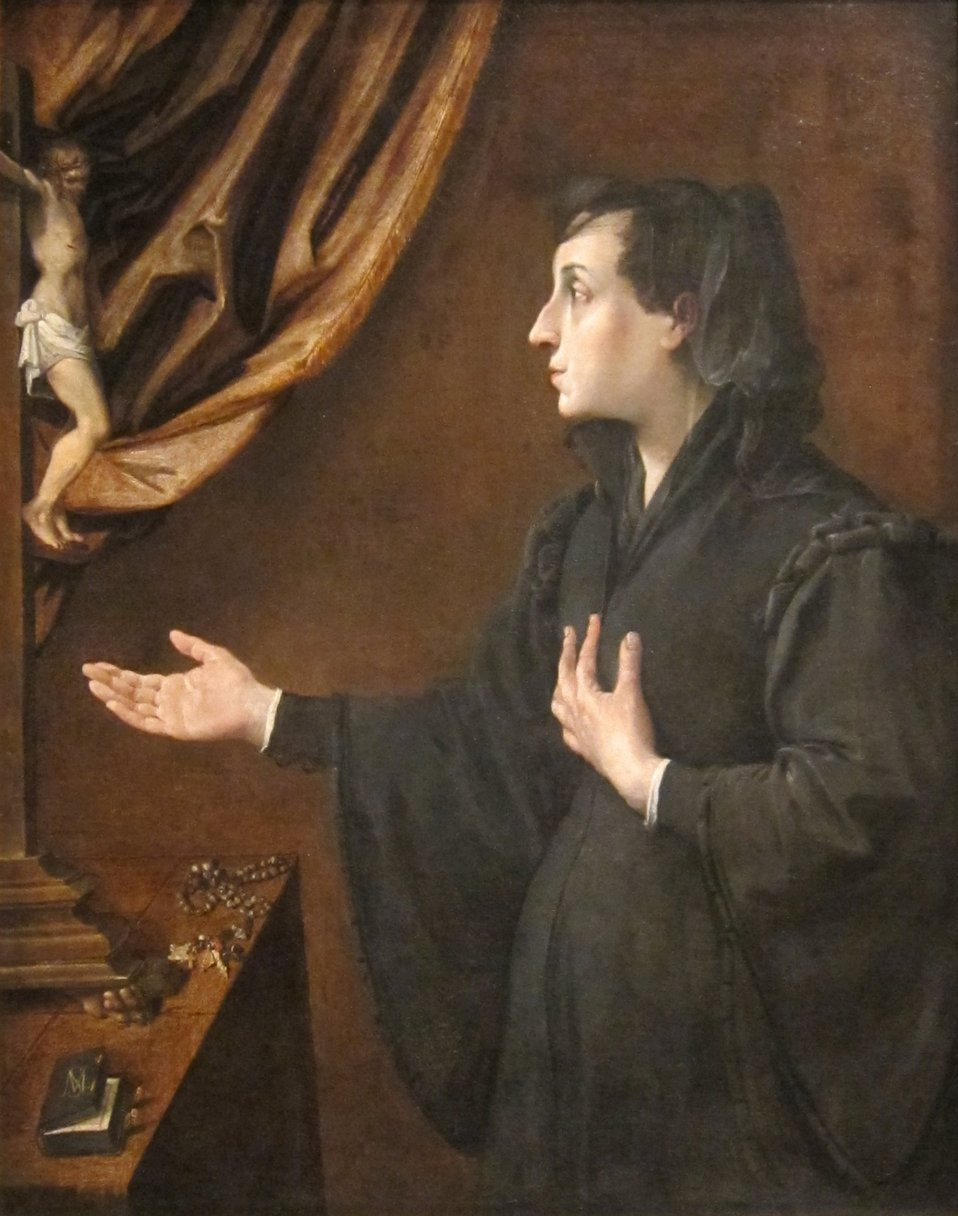 Portrait of a Widow, oil on canvas painting by Ludovico Carracci (Lodovico Carracci), c. 1585, Dayton Art Institute