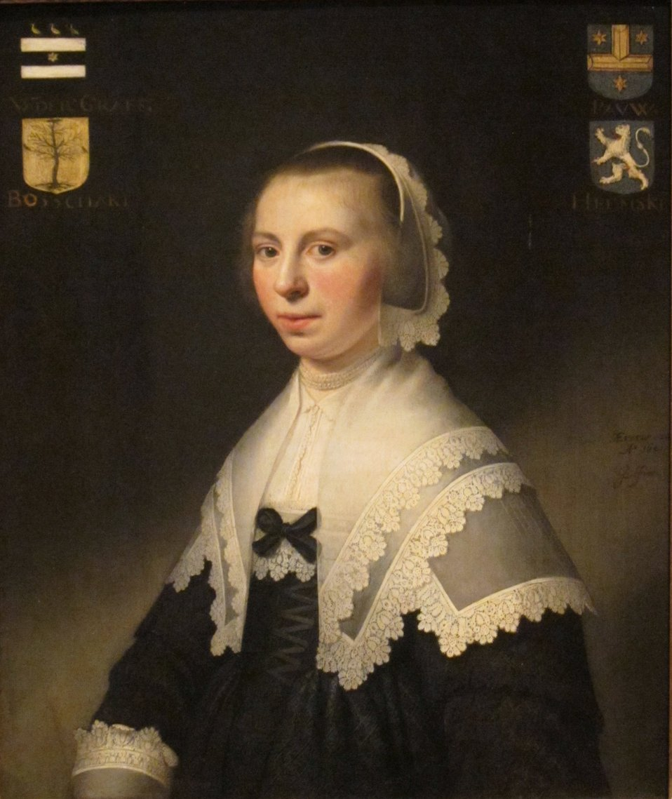 Portrait of Machteld van der Graeff, oil on wood panel painting by Jacob Willemsz Delff (1619-1661), 1641, Dayton Art Institute