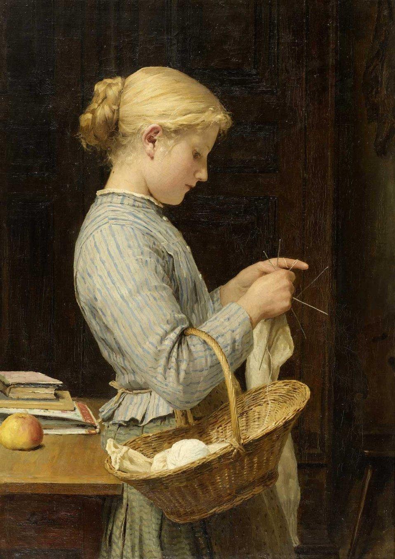 Albert Anker - Strickendes Mädchen (1888).jpg