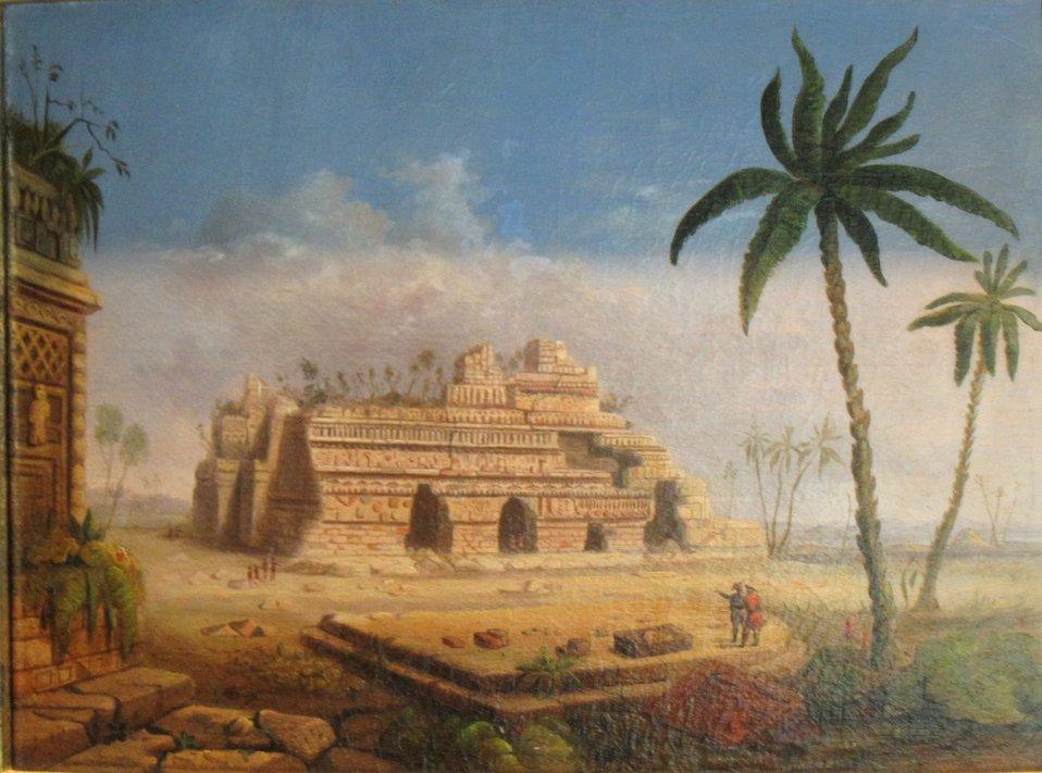 Myan Ruins, Yucatan, oil on canvas painting by Robert Scott Duncanson, 1848, Dayton Art Institute