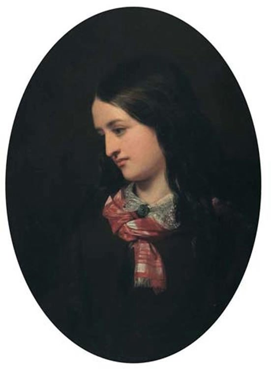 Portrait of a Young Woman with Plaid Scarf, oil painting by Cornelius Krieghoff, 16 x 11.9 in., Ritchies, Toronto