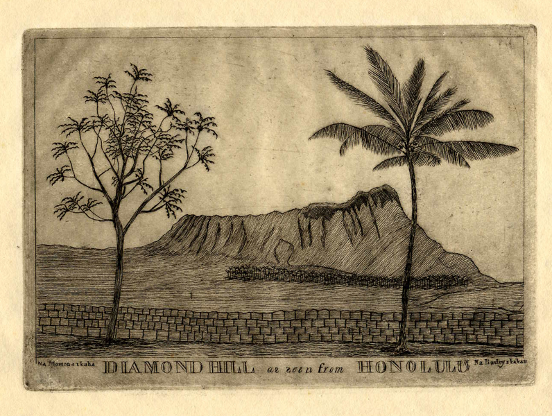 Diamond Hill as seen from Honolulu by Edward Bailey, c. 1850's, copper plate engraving, 14 1/4 x 6 inches