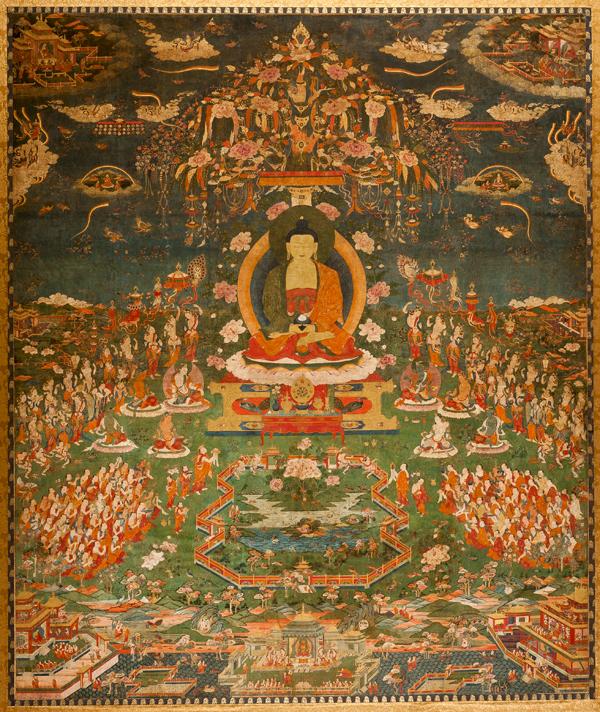 Amitabha in Sukhavati Paradise, Tibetan, circa 1700, Ink, pigments, and gold on cotton, San Antonio Museum of Art