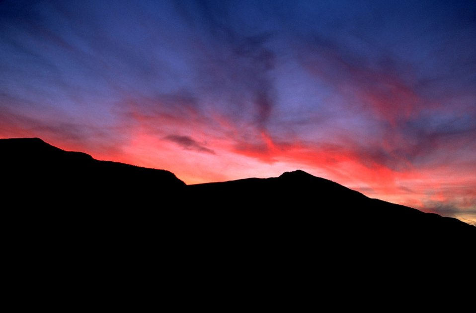 Beautiful sunset with silhouette of mountains