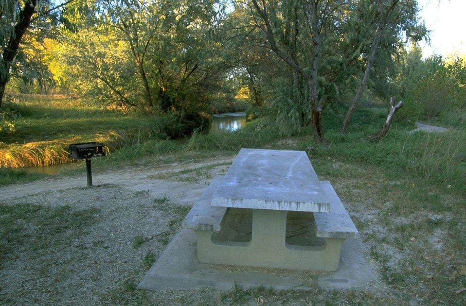 Picnic table and grill along Jones Creek