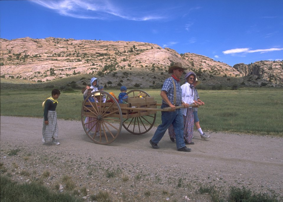 Handcart re-enactment on the Mormon Trail between Devil's Gate and Martin's Cove, Rawlins Field Office.