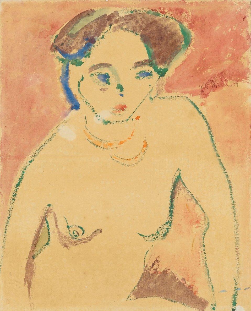 Halbakt eines jungen Mädchens (Mädchen-Halbakt). (Verso: Skizze eines auf den Knien liegenden weiblichen Aktes), Aquarell auf Aquarellkarton 43 x 34,7 cm