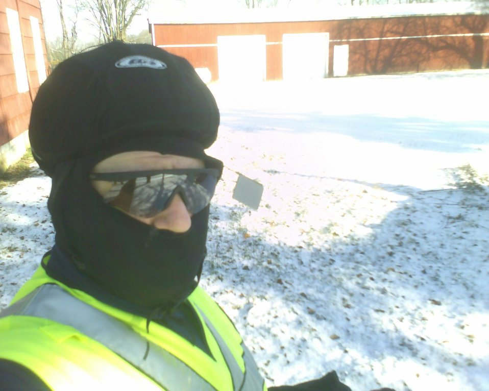 A picture of myself dressed for a winter bicycle ride.