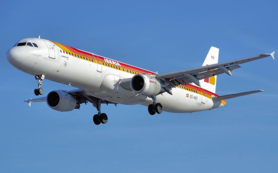 Iberia Airbus A321-200 (EC-HUI) lands at London Heathrow Airport, England.