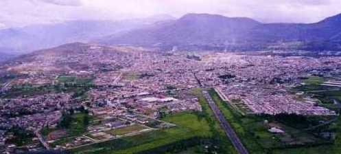 Ibarra, from paraglider flight from volcano Imbabura