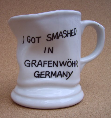 A coffee mug purchased in Grafenwöhr, Germany.
