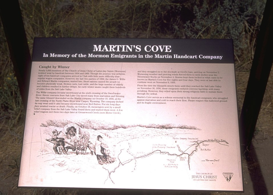 Martin's Cove interpretative sign, Rawlins Field Office.