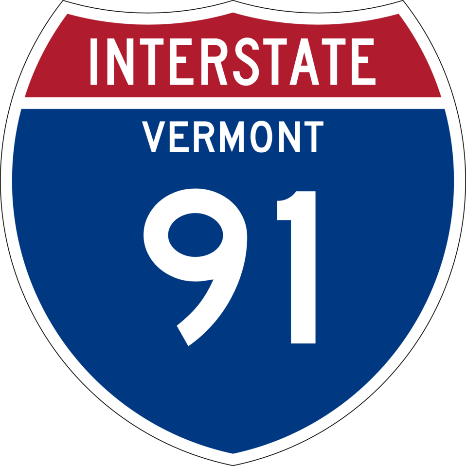 I-91 shield with Vermont state name