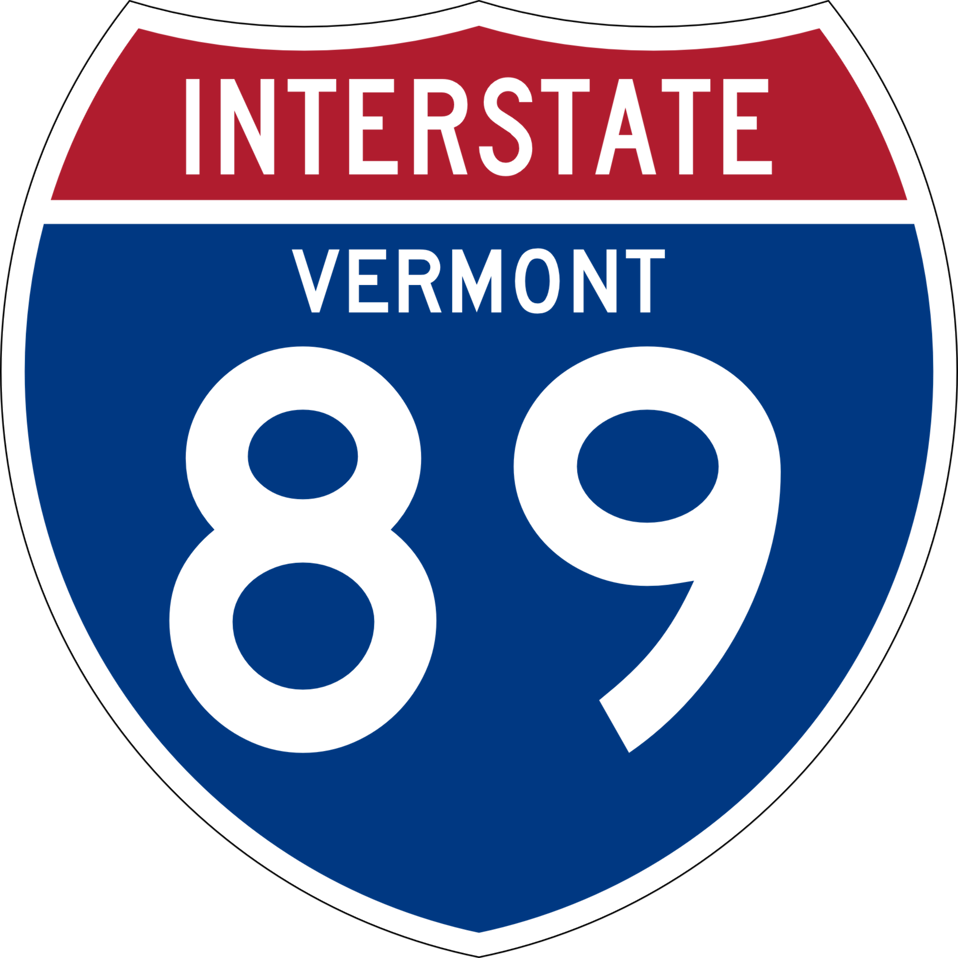 I-89 shield with Vermont state name in the shield.