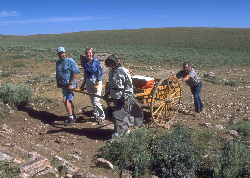 Hand cart re-enactment along the Mormon Trail, Lander Field Office.