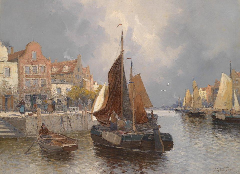 Deutsch:  Holländische Hafenansicht, signiert mit dem Pseudonym Th. Wagner, Öl auf Leinwand, 74,5 x 100 cm