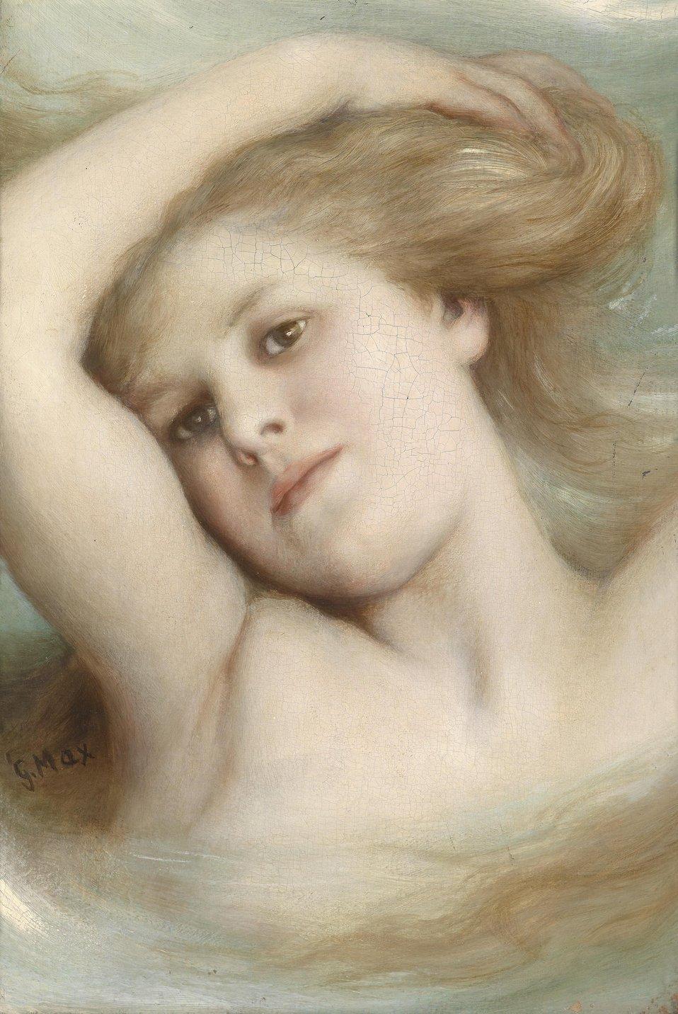 Kopf eines träumenden Mädchens, signiert G. Max, Öl auf Leinwand, 36 x 24,5 cm