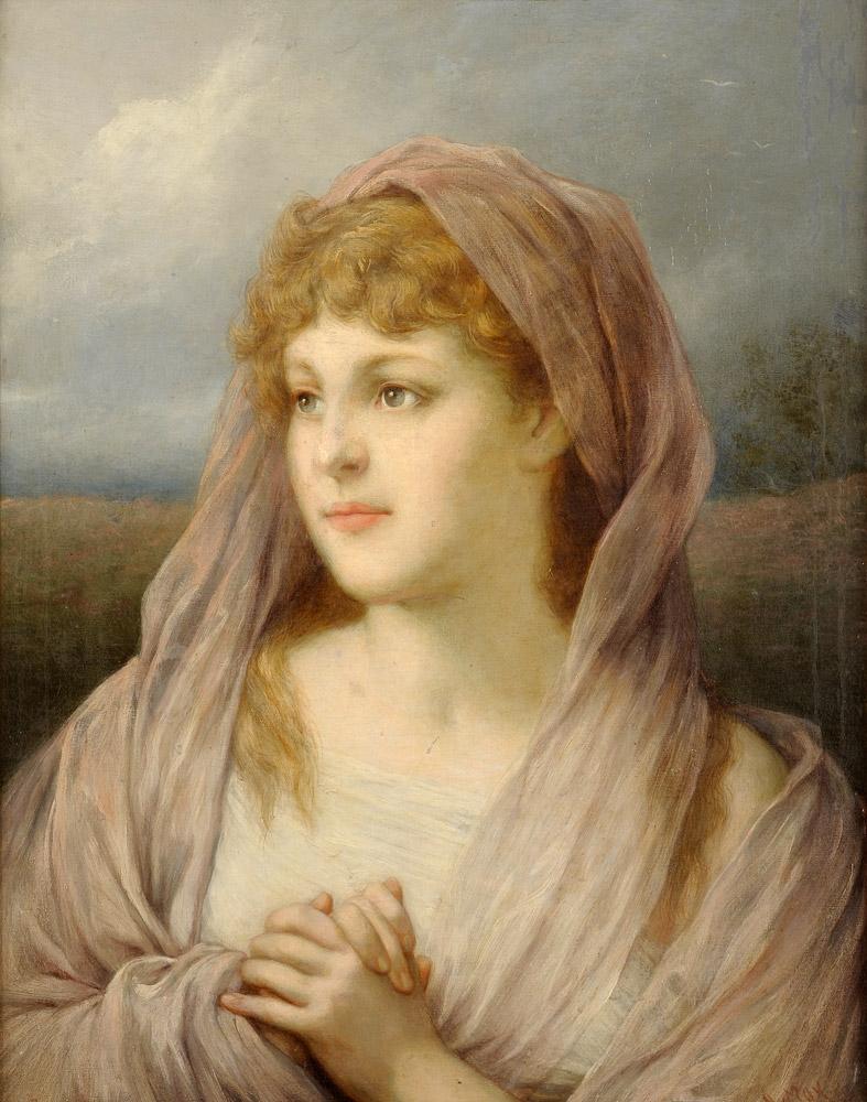 Blonde Schönheit mit Seidenschleier. Signiert. Öl auf Leinwand, 62 x 46 cm