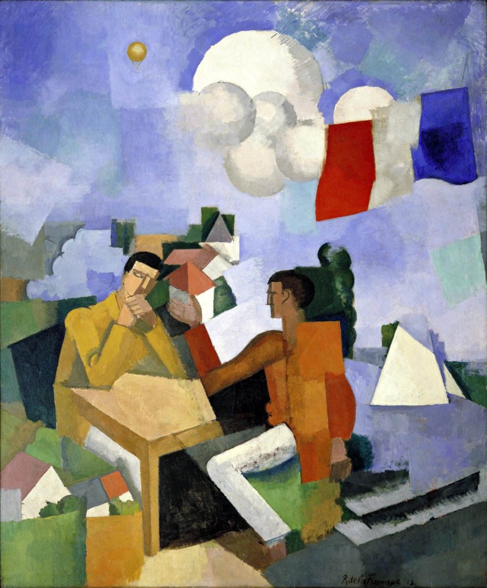 Photograph of The Conquest of the Air, 1913. Oil on canvas by en:Roger de La Fresnaye in the public domain. en:Museum of Modern Art, New York.