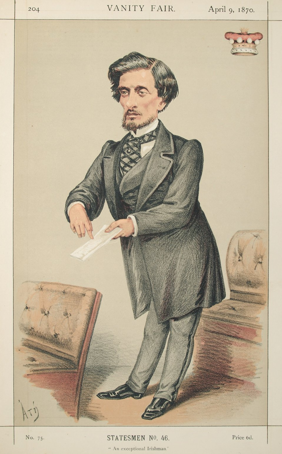 Statesmen No.46: Caricature of Lord Dufferin.  Caption reads: 'An exceptional Irishman.'