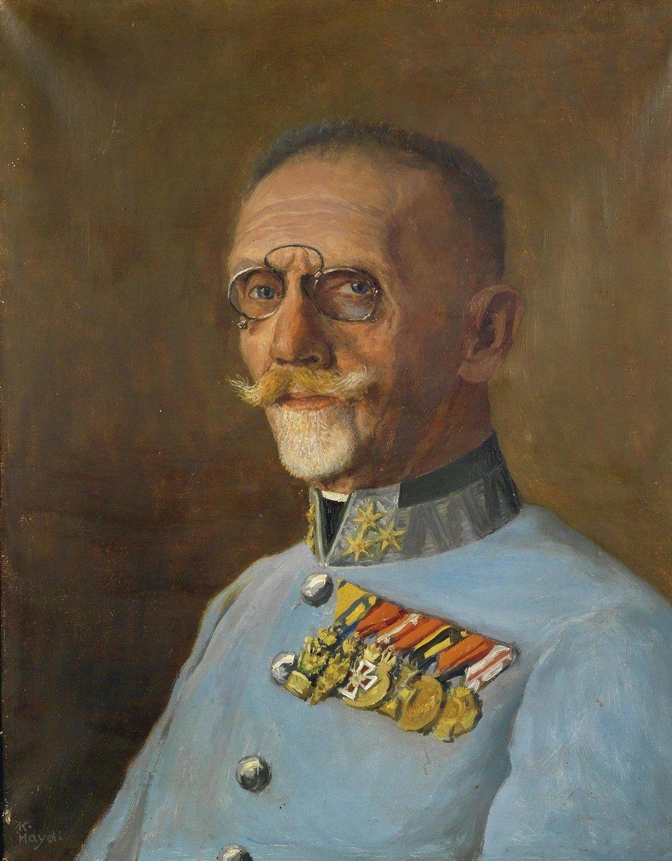 Porträt des Oberst der Pioniertruppe Franz (ab 1918 von) Berger (1861–?). Öl auf Leinwand, links unten signiert K. Haydi, (Waffenrock der Pioniertruppe mit stahlgrüner Egalisierung und silbernen Knöpfen, auf dem Stehkragen die silberne Stabsoffizier