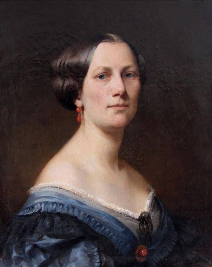 Deutsch:  Portrait der Ehefrau des Malers. Signiert und datiert 1863, Öl auf Leinwand, 60 x 50 cm